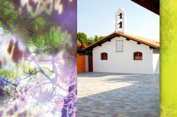 Le clocher de La Maison de la Sainte Parole à Arès, lieu des événements surnaturels et de pèlerinage annuel
